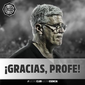 Álvaro Gutiérrez renunció a su puesto como entrenador de Olimpia. Twitter/elClubOlimpia