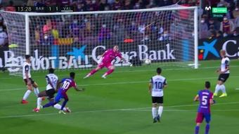 Ansu Fati levelled the scores for Barca. Screenshot/MovistarLaLiga