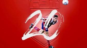 Les 20 ans du 1er but de Torres avec l'Atlético. Captura/Torres
