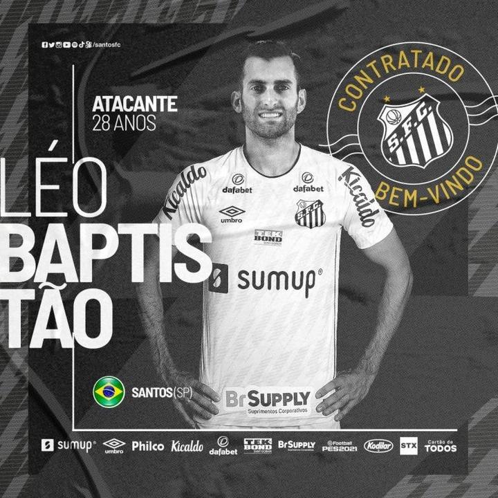 Baptistao firma por Santos y regresa a su casa. Twitter/SantosFC