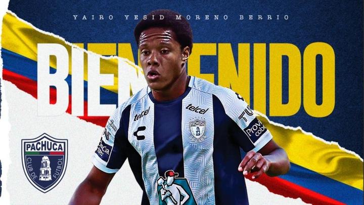 Yairo Moreno, nuevo jugador de Pachuca. Twitter/Tuzos
