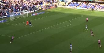Bonne stood behind the goalie to help Ipswich level. Screenshot/IpswichTown