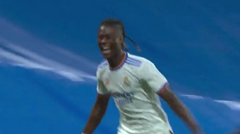 Camavinga estreou com gol pelo Real Madrid. Captura/MovistarLaLiga