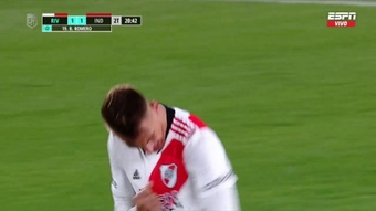 River e Independiente empataron a uno. Captura/ESPN