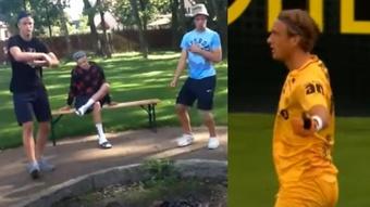 Botheim ha pasado de rapear a golear a la Roma. Capturas/Youtube/HAS786-MovistarLigadeCampeones