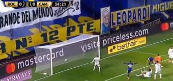 El árbitro anuló el primer gol de Boca. Captura/DAZN