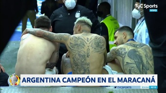 Paredes, Messi and Neymar chatted after the Copa America final. Captura7TyCSports