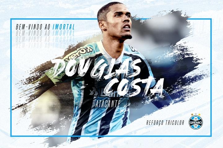 Douglas Costa retourne au Grêmio. Twitter/Gremio