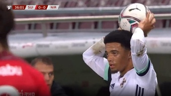Jamal Lewis was sent off for taking too long to take a throw in. Screenshot/UEFA.tv