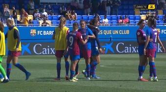 El Barça sigue líder con cinco victorias en cinco partidos. Captura/Esport3