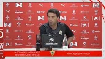 Rubi no se marchó contento tras el empate a uno ante Las Palmas. Twitter/U_D_Almeria