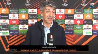 Imanol Alguacil se mostró contento con sus jugadores. Captura/Vamos