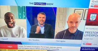 Danny Mills was caught swearing on live TV. Screenshot/SkySports
