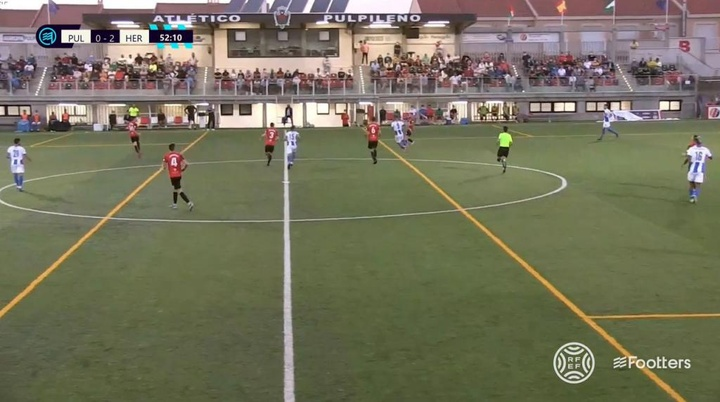 El Hércules no tuvo piedad con el Atlético Pulpileño. Captura/Footters