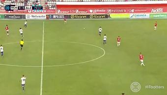 El Real Murcia venció por la mínima (1-0) a la UD Alzira. Captura/Footters