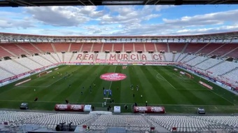El Murcia sufrió para ganar al Marchamalo en el primer partido de Segunda RFEF. Captura/RealMurcia