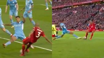 Fabinho tuvo el tercero para el Liverpool. Captura/DAZN