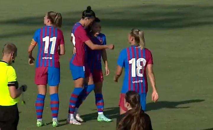 El Barcelona Femenino endosó un 17-0 al Elche. Captura/BarçaTV