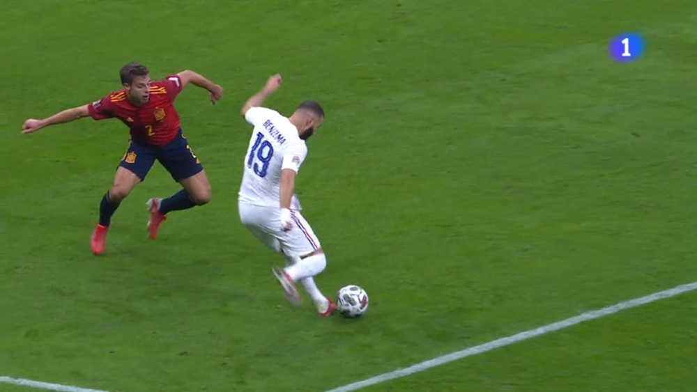Benzema's goal to tie the final. Screenshot/RTVE1