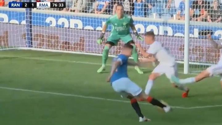 Itten gave Rangers a deserved winner. Screenshot/RealMadridTV