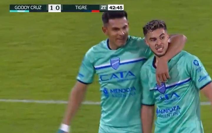 Godoy Cruz venció 1-0 a Tigre. Captura/TyCSports