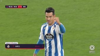 El Logroñés empató al Deportivo en el último minuto. Captura/Footters