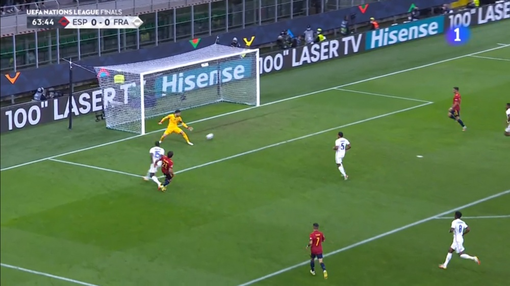 Oyarzabal opened the scoring in the final after a Theo crossbar. Screenshot/RTVE1