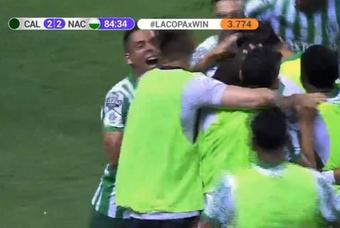 Atlético Nacional empató a dos ante Deportivo Cali. Captura/WinSports