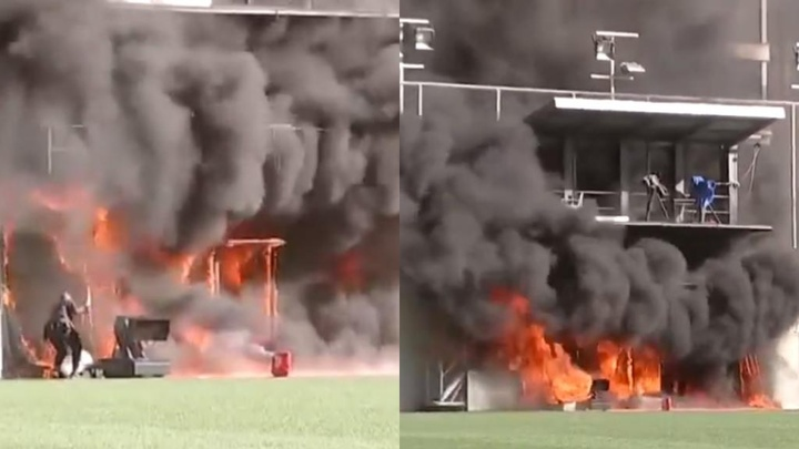 El Estadi Nacional se quemó. Captura/SkySports