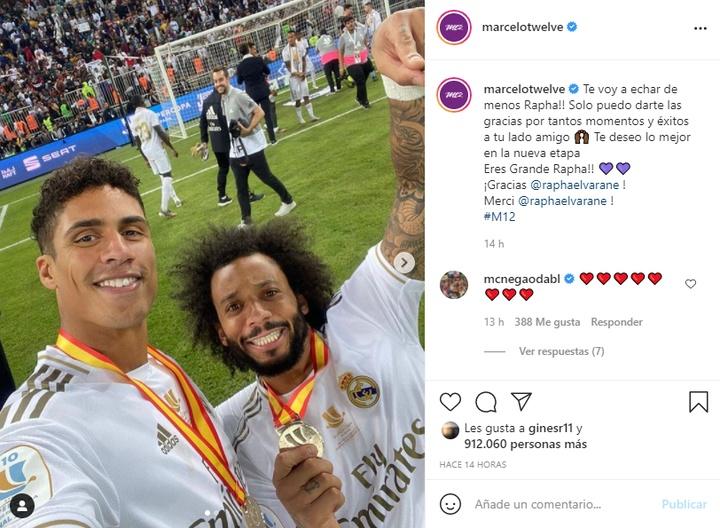Marcelo se despidió de Varane. Instagram/marcelotwelve