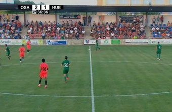 Osasuna venció 2-1 ante la SD Huesca. Captura/AragónTV