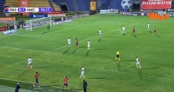Once Caldas venció a Deportivo Pasto por la mínima. Captura/WinSportsTV