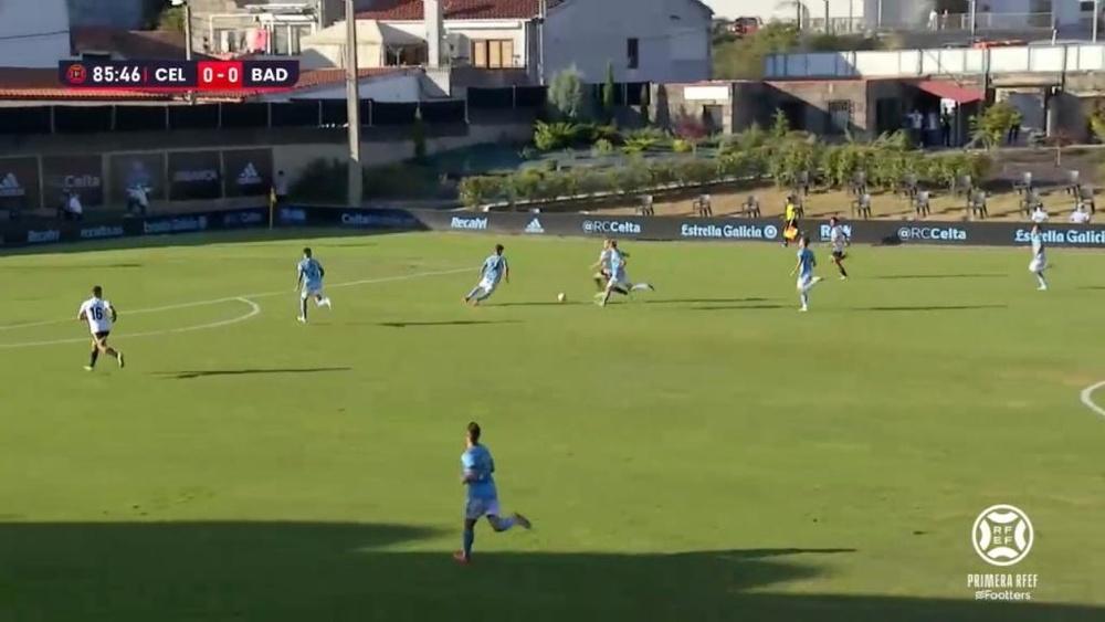 Celta B y Badajoz empataron a cero. Captura/Footters
