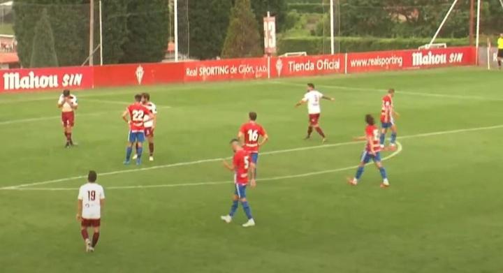 El Sporting venció 7-0 al modesto Gijón Industrial. Captura/RSGTV