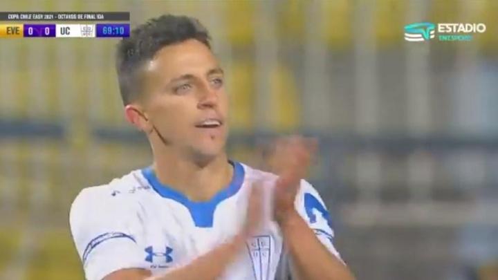 Everton y Católica empataron a cero. Captura/TNTSportsChile