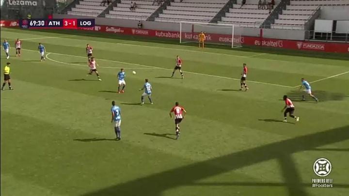 El Bilbao Athletic venció 3-1 al Logroñés. Captura/Footters