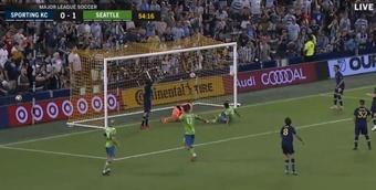 Seattle anotó un gol de lo más raro. Twitter/MLS