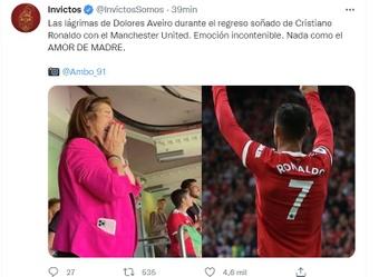 As lágrimas da mãe de Cristiano Ronaldo após a reestreia de seu filho no United. Twitter/Invictos