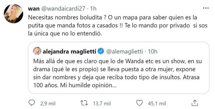Wanda Nara escribió un mensaje y después lo borró. Twitter/wandaicardi27