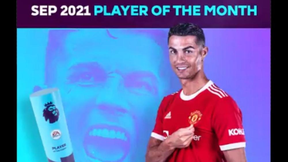Cristiano, o MVP de setembro da Premier League. Captura/PremierLeague