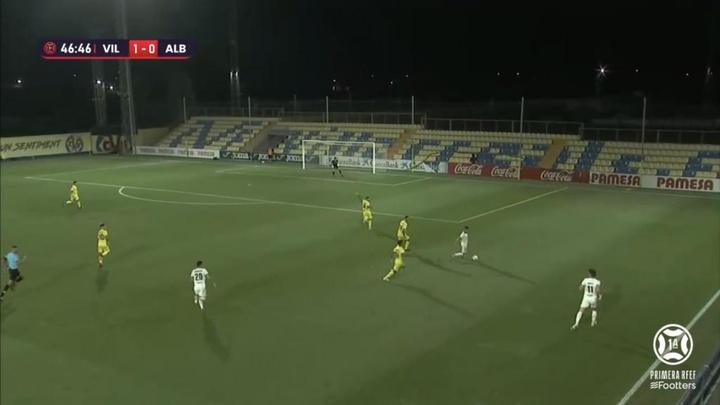 El Villarreal B goleó al Albacete y se posicionó líder de Primera RFEF. Captura/Footters