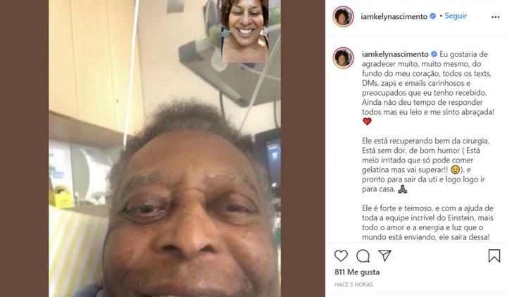 Una de las hijas de pelé tranquilizó sobre el estado de su padre. Instagram/iamkelynascimento