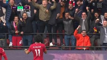 Salah anotó un soberbio golazo para hacer el cuarto del Liverpool. Captura/DAZN