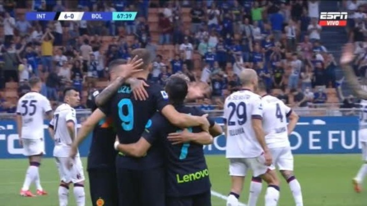 El Inter se ha puesto líder provisional con una goleada. Captura/ESPN