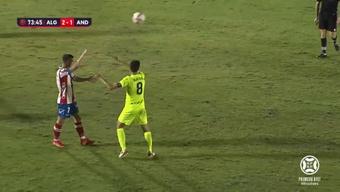 Algeciras y Andorra empataron a dos un partido vibrante. Captura/Footters