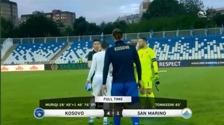 Kosovo pasó por encima de San Marino gracias a un sensacional Muriqi. Captura/S2