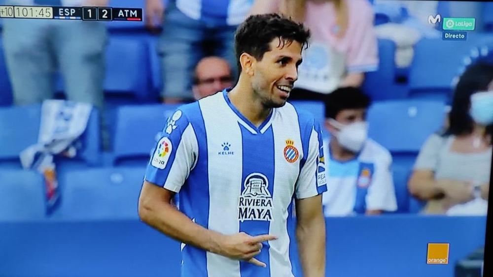 Leandro Cabrera le hizo este gesto a Llorente tras el 1-2. Captura/MovistarLaLiga