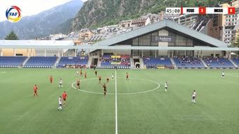El Santa Coloma goleó al Mons Calpe y sigue vivo en la Conference League. Captura/FAF