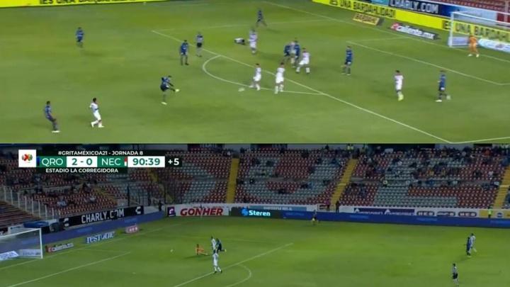 Un golazo y un error defensivo protagonizaron el Querétaro-Necaxa. Twitter/TUDNUSA