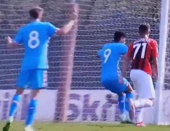 El Atlético y el Milan Sub 19 empataron a uno. Captura/MovistarLigadeCampeones